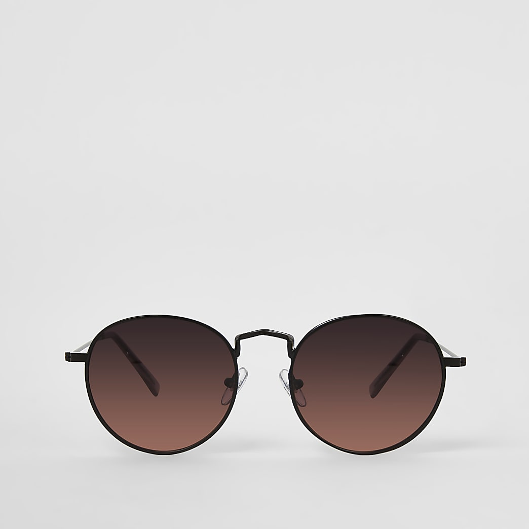 Black round orange lens sunglasses