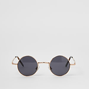 Kleine, runde Sonnenbrille in Roségold