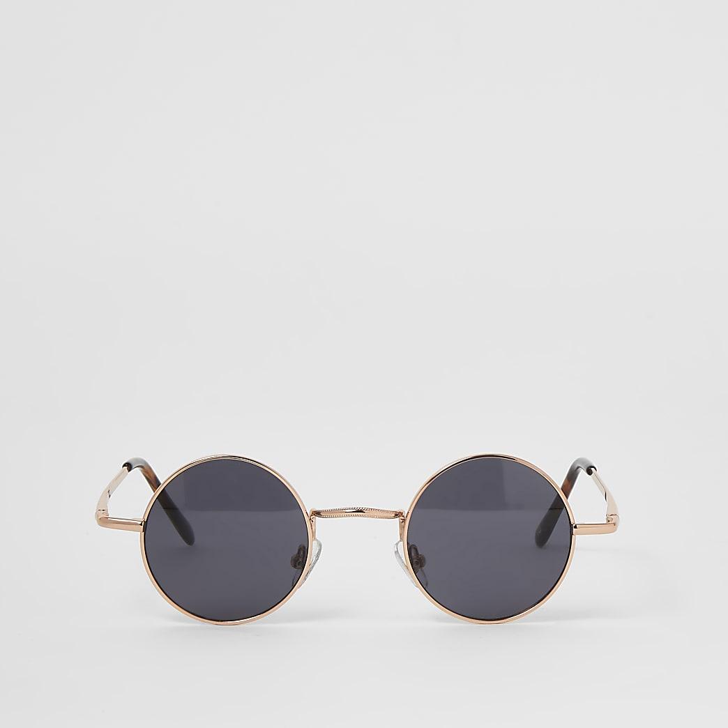 Roségoudkleurige kleine ronde zonnebril