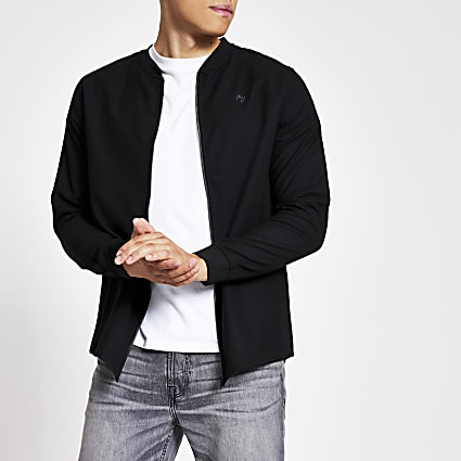 Black slim fit Maison Riviera bomber jacket