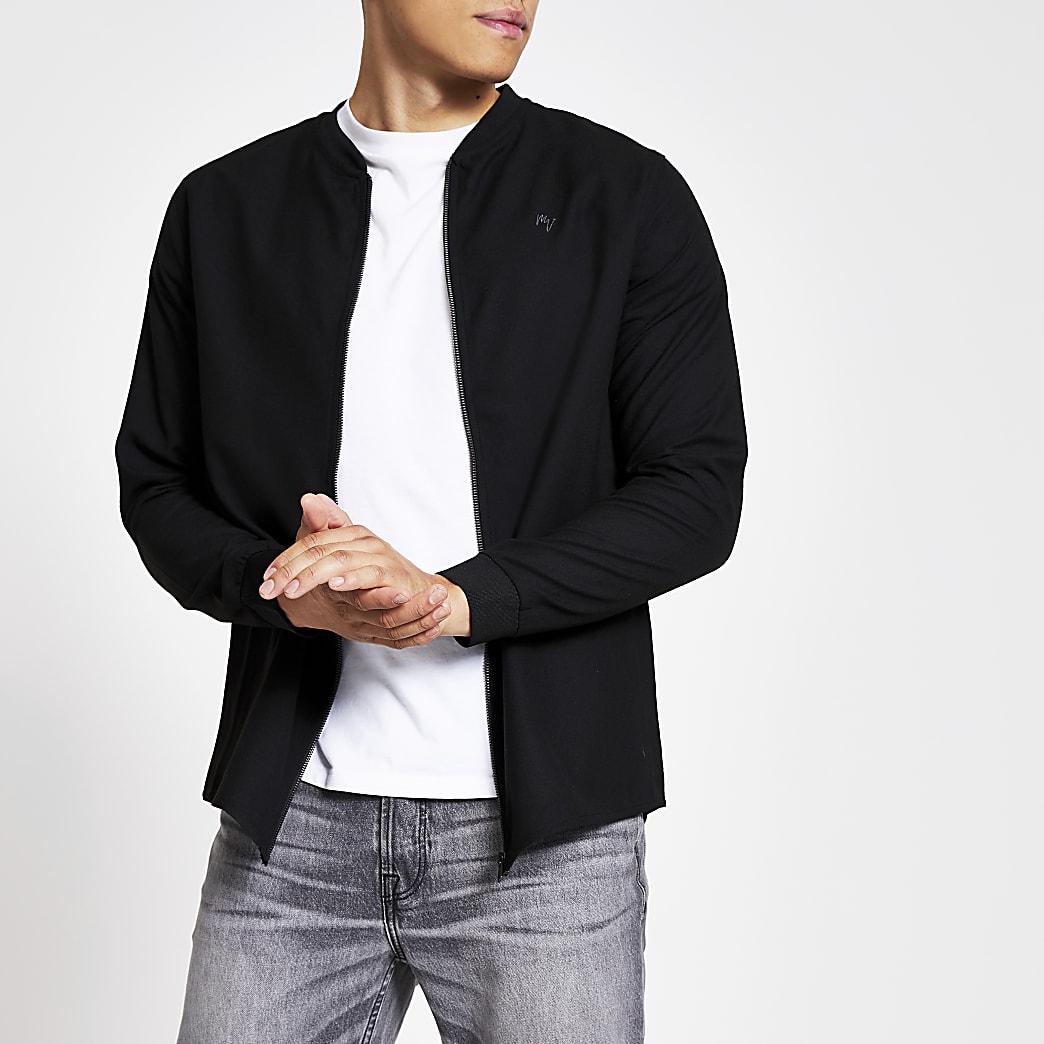 Black slim fit Maison Riviera bomber jacket