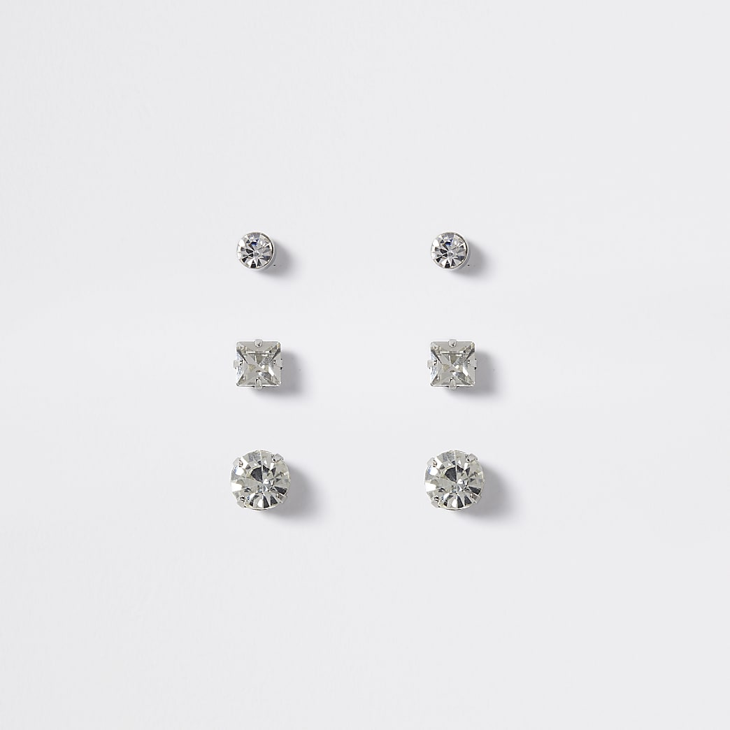 Silver colour diamante stud earrings 3 pack
