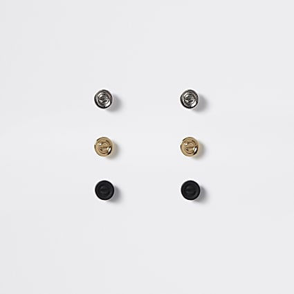 Multicoloured screw stud earrings 3 pack
