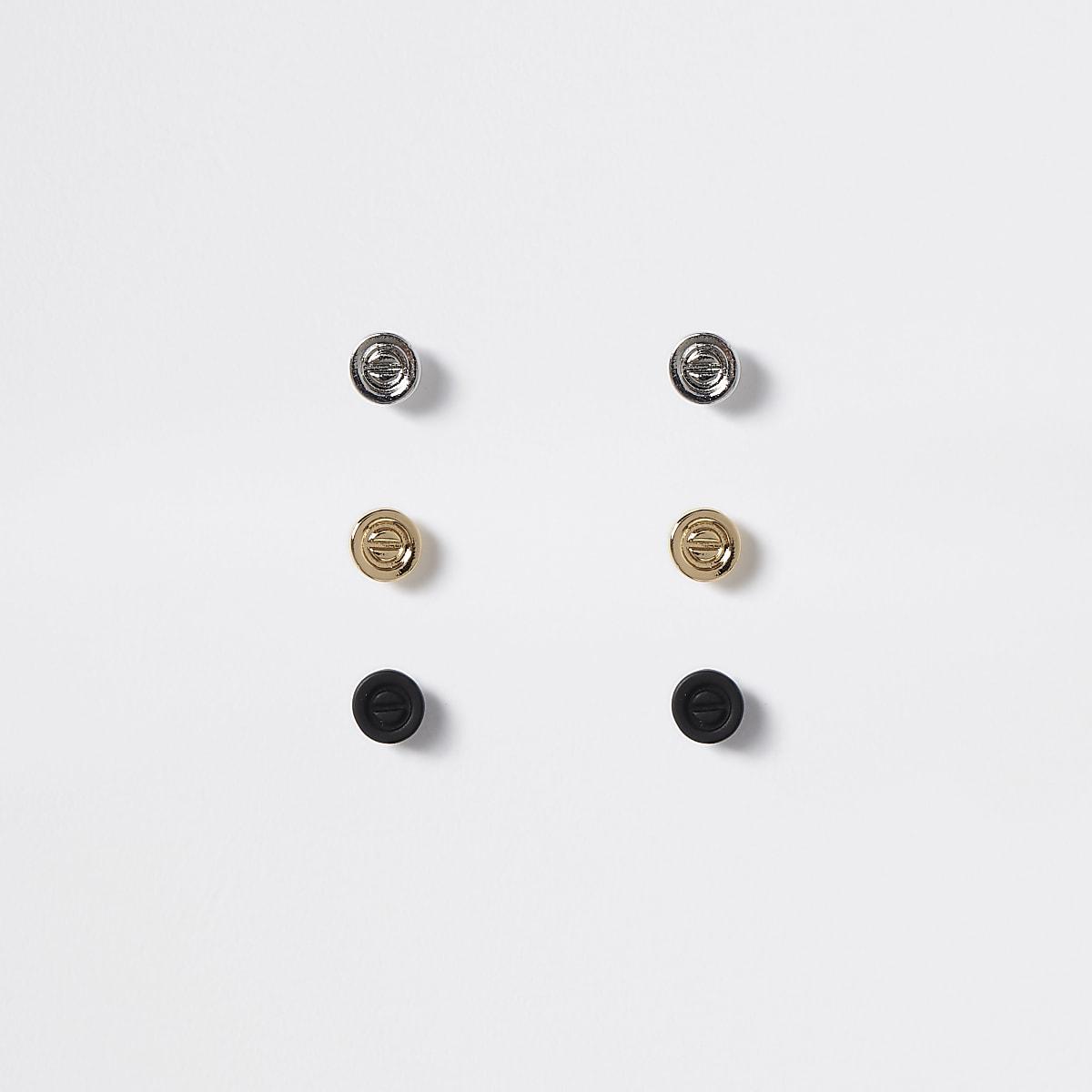Multicoloured screw stud earrings 3 pack