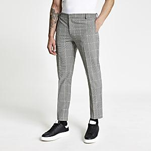 Pantalon super skinny à carreaux noir et blanc