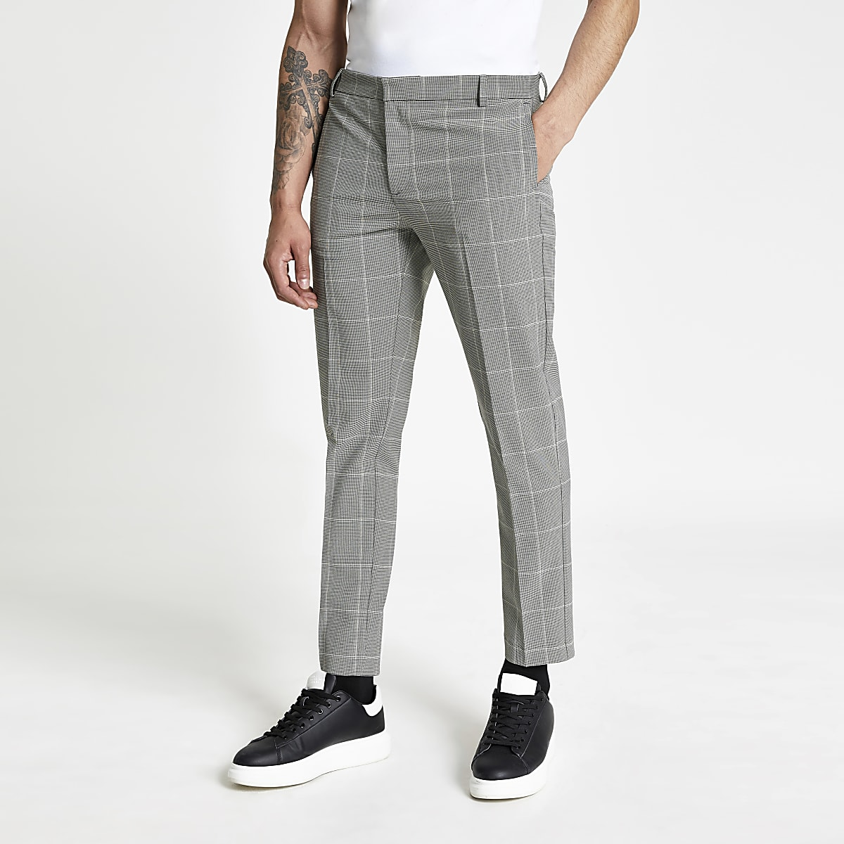 Monochrome check super skinny trousers