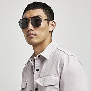 Schwarze, sechseckige Pilotensonnenbrille