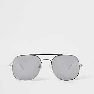 Verspiegelte Pilotensonnenbrille in Silber