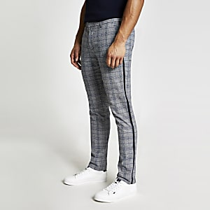 Pantalon stretch super skinny gris à carreaux