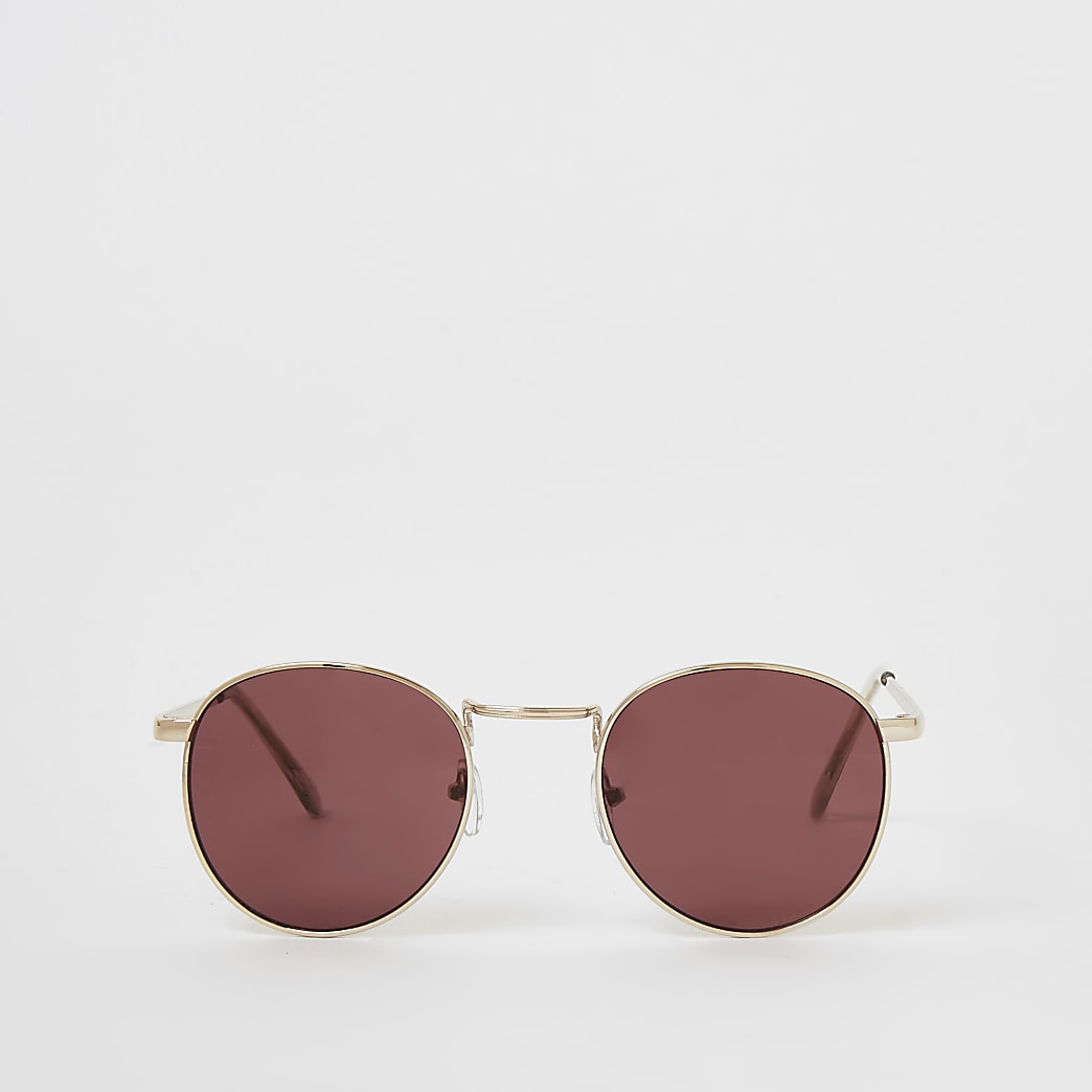 Gold round red tinted sunglasses