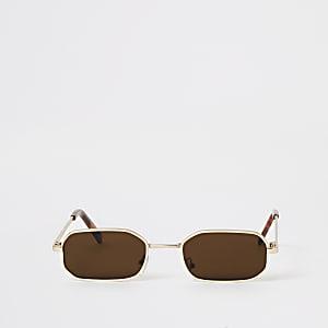 Goldene, rechteckige Mini-Sonnenbrille