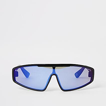 Black blue tinted lens visor sunglasses