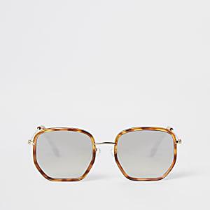 Bruine zeshoekige zonnebril met schildpadmontuur