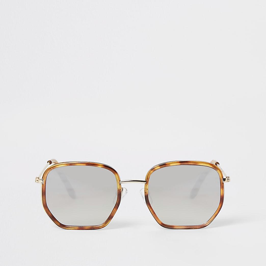 Brown tortoiseshell hexagon sunglasses