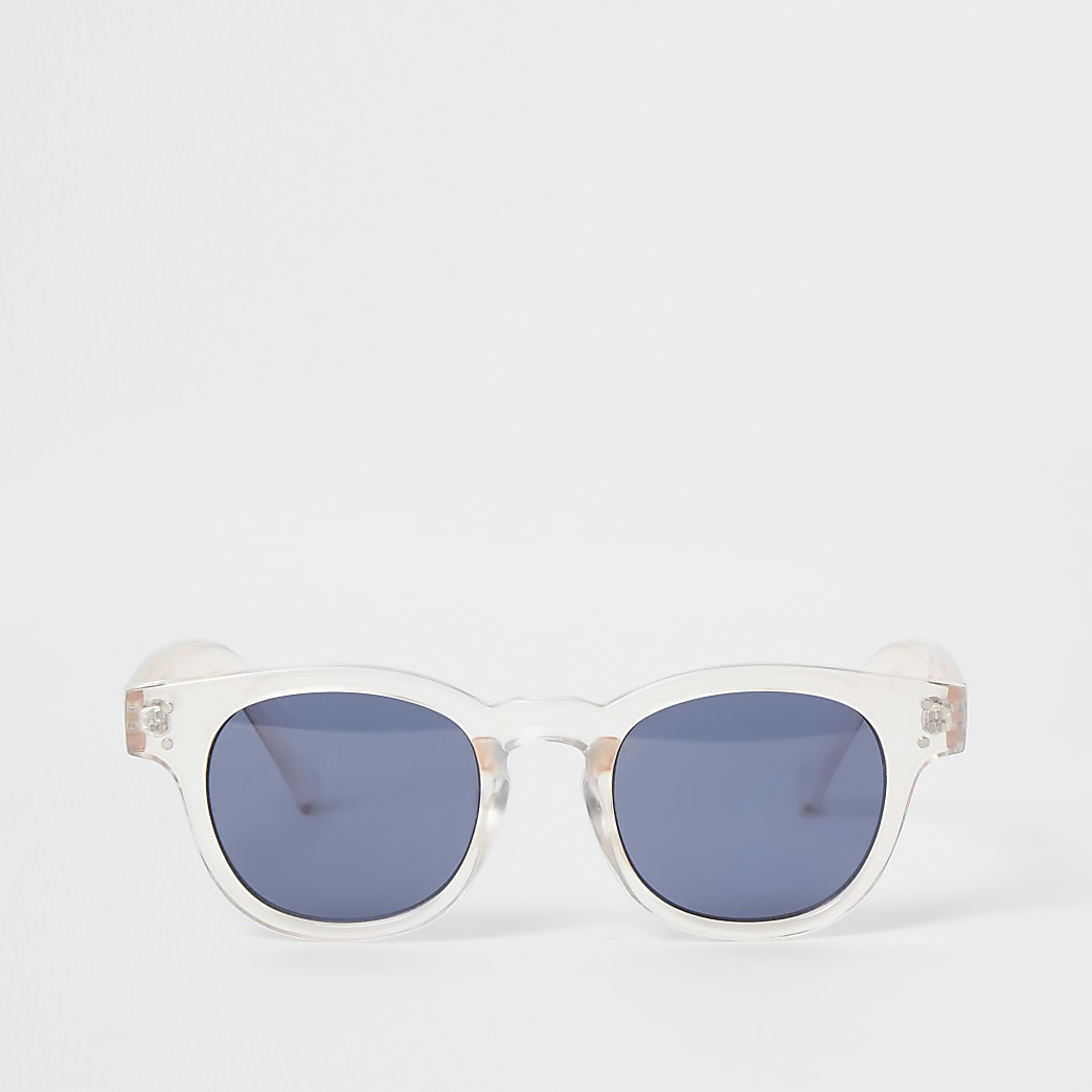 Pink clear frame retro sunglasses