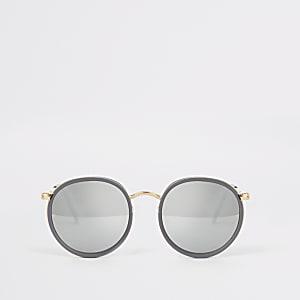 Runde Sonnenbrille in Grau und Gold