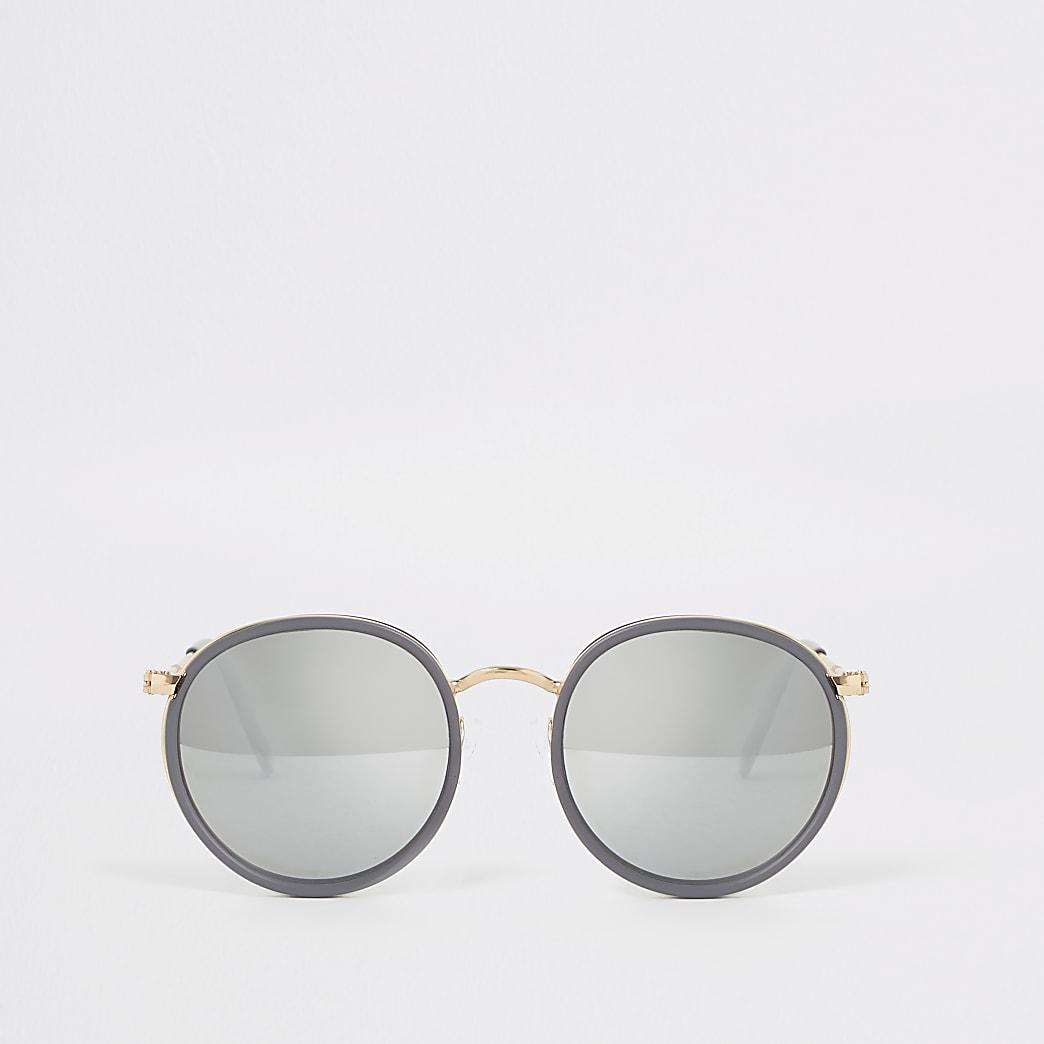 Grijs en gouden ronde zonnebril