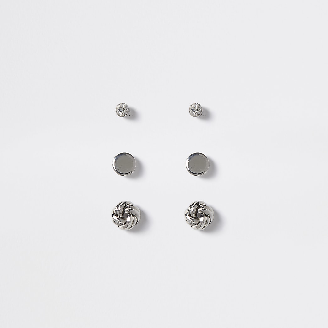 Silver colour stud earrings 3 pack