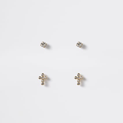 Gold colour cross stud earrings 2 pack