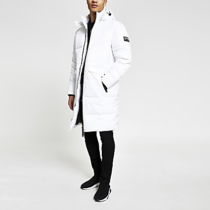 White DVSN longline padded coat