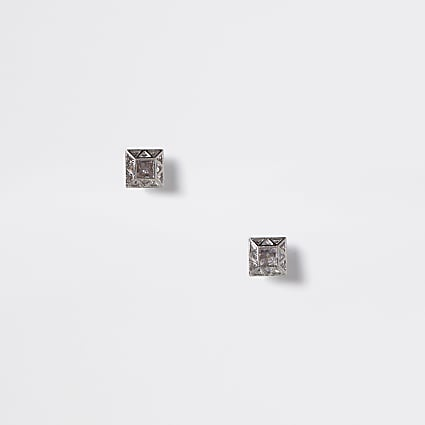 Silver colour diamante square stud earrings