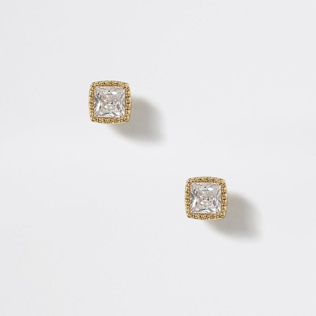 Clous d'oreilles carrés dorés avec zircon cubique