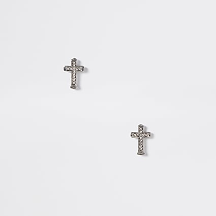 Silver colour diamante cross stud earrings