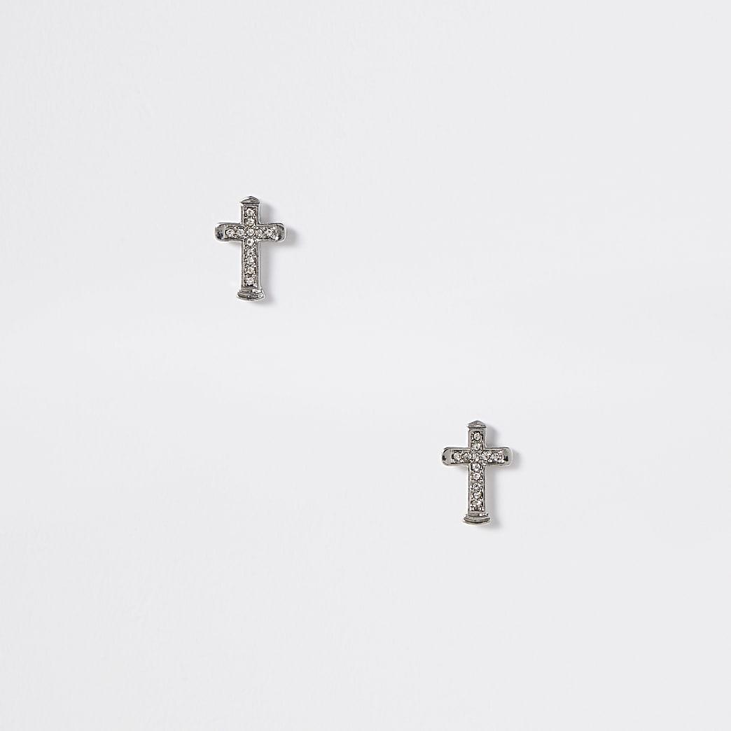 Silver colour diamante cross stud earrings