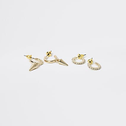 Gold colour spike hoop earrings 2 pack