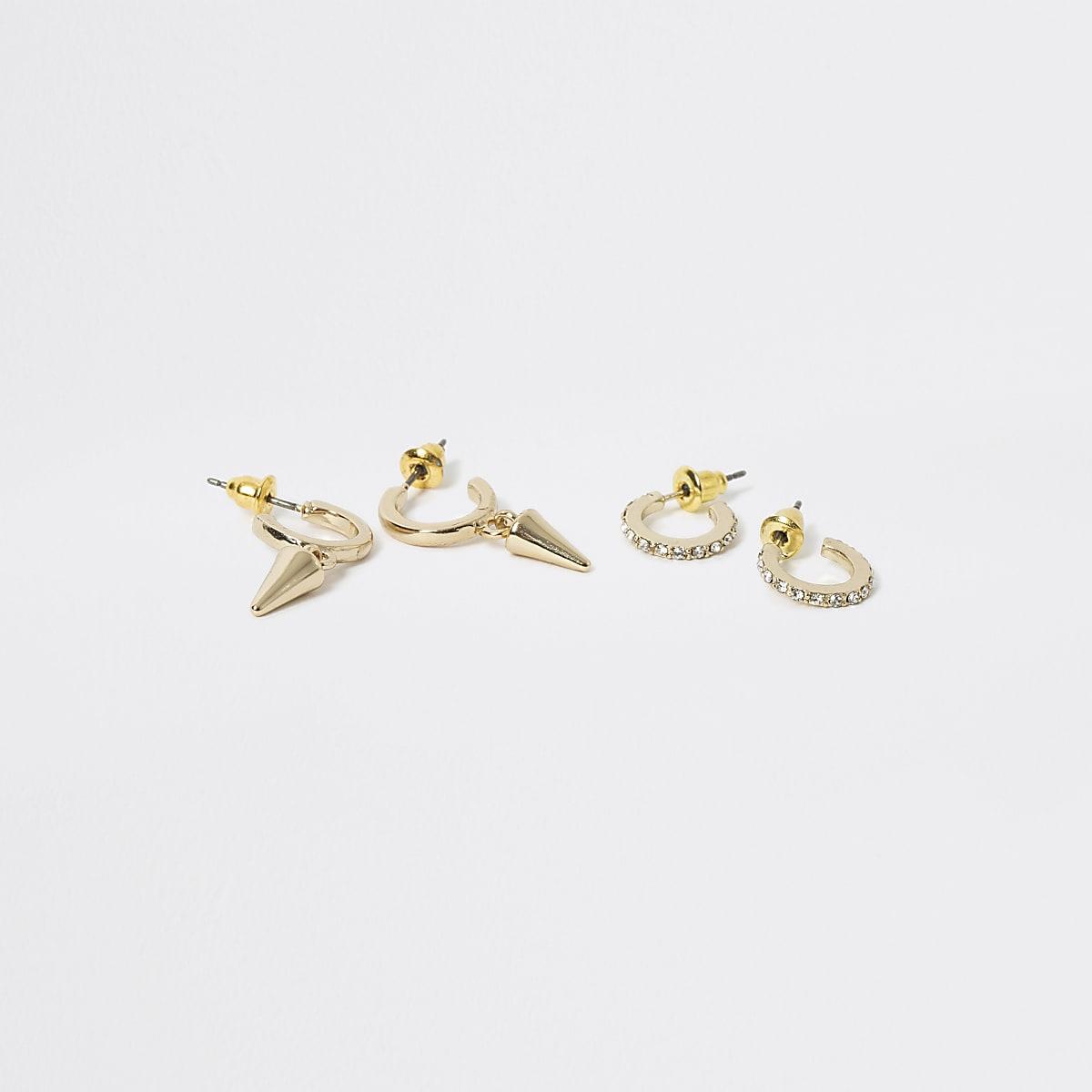 Gold colour spike hoop earrings 2 pack