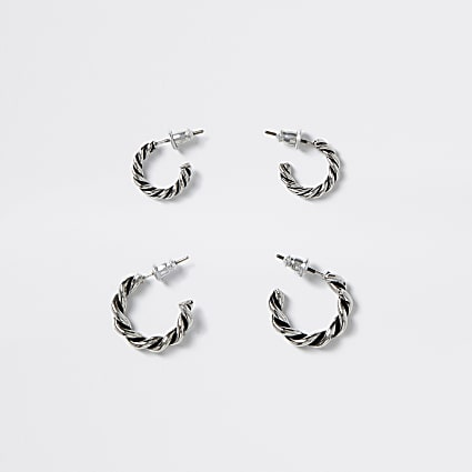 Silver colour twist hoop earrings 2 pack