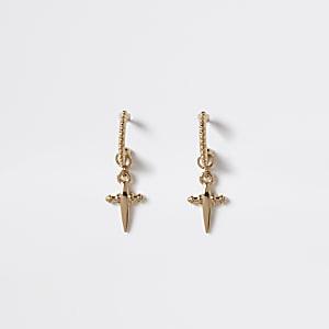 Goldfarbene Creolen mit Kreuz und Tropfen