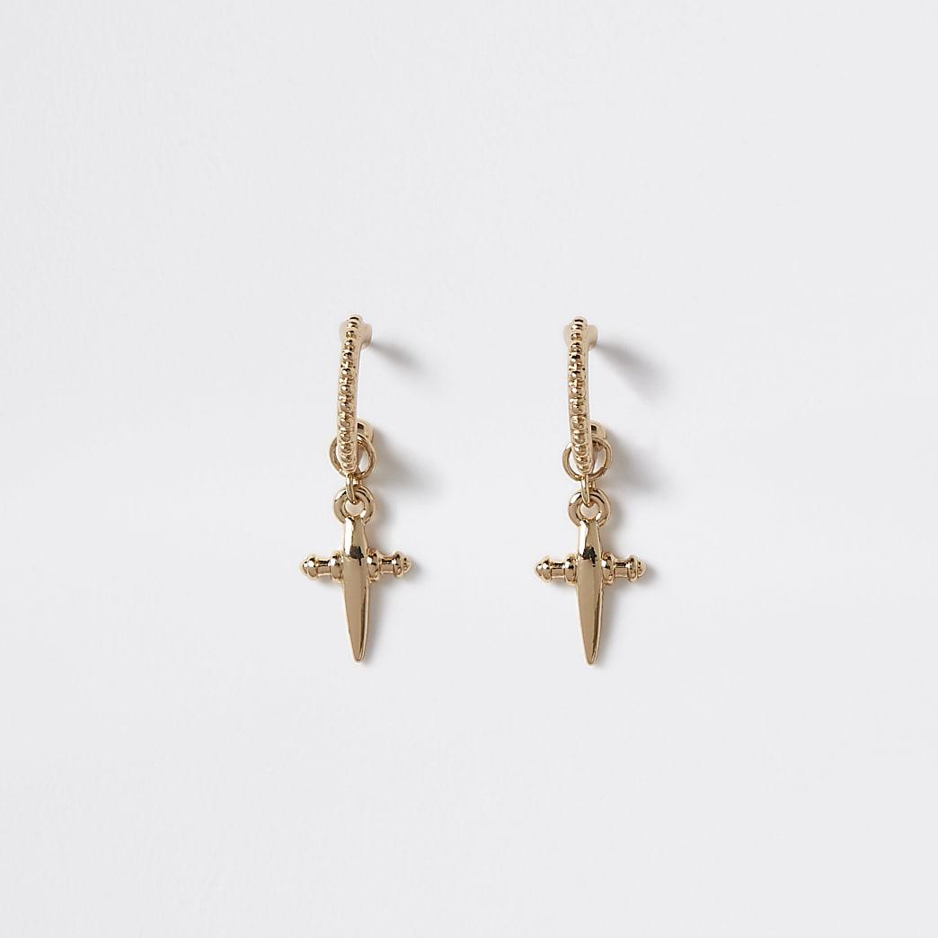 Gold colour cross drop hoop earrings