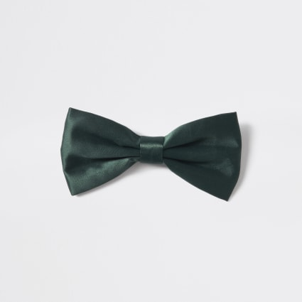 Dark green satin bow tie
