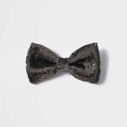 Dark grey sequin embellished bow tie