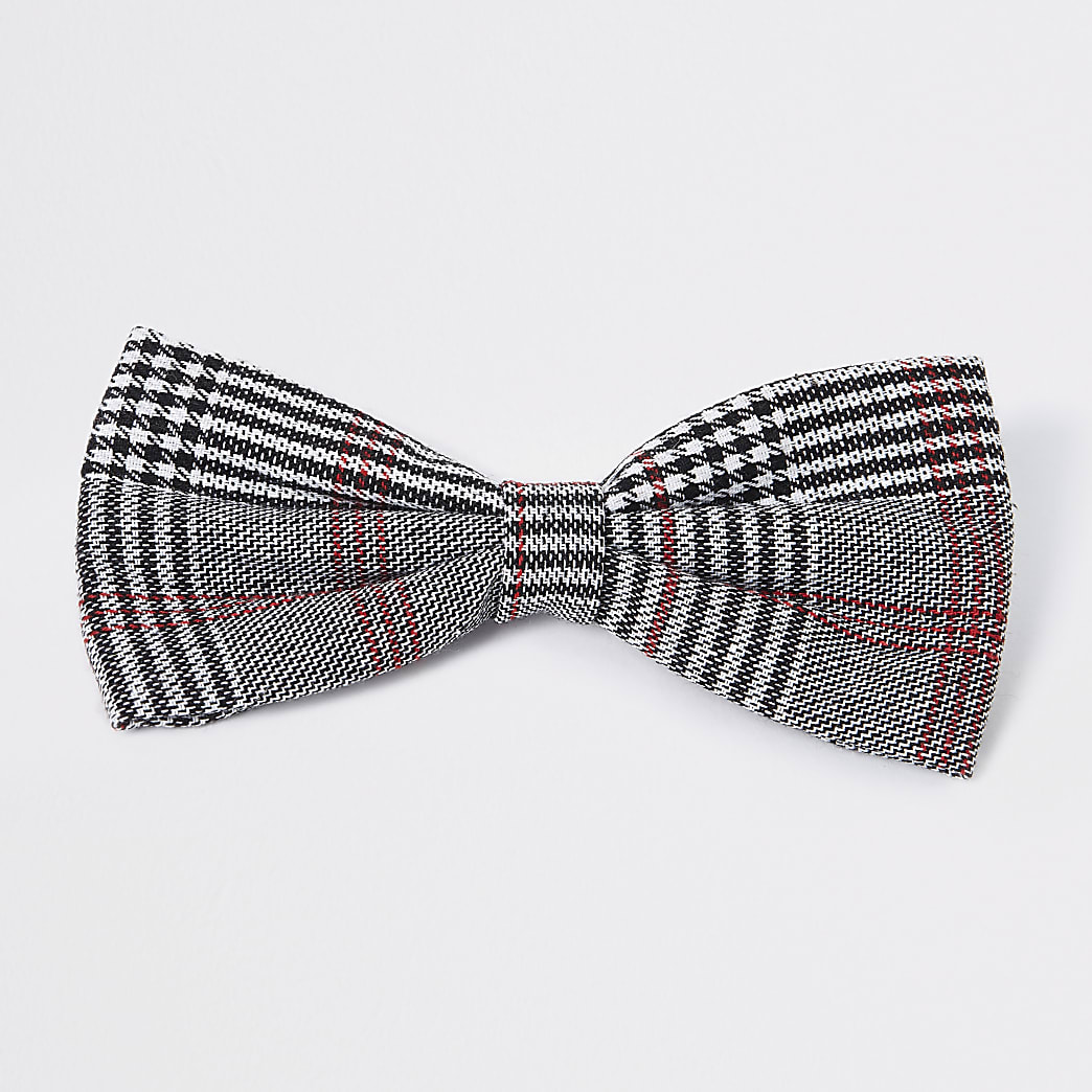 Grey check print bow tie