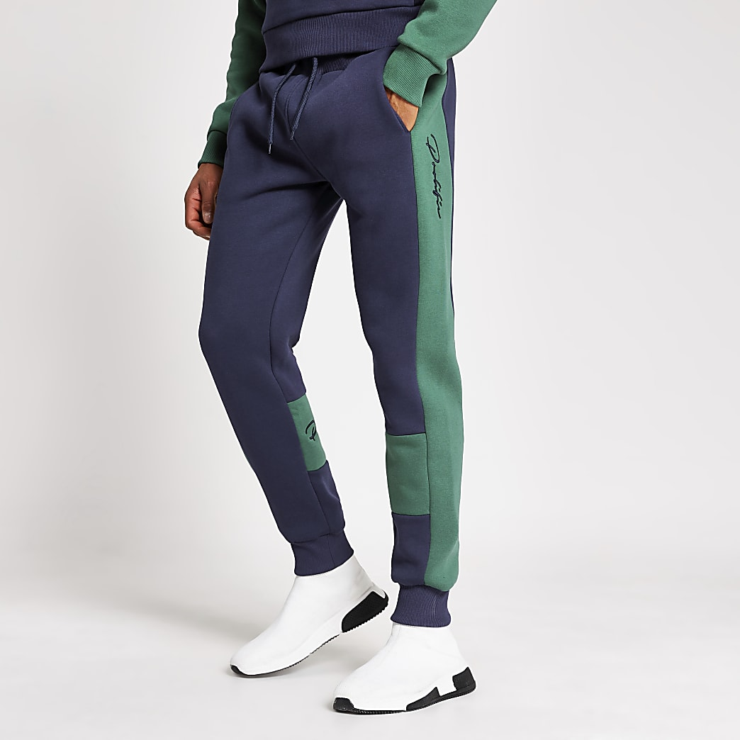 Prolific navy blocked slim fit joggers