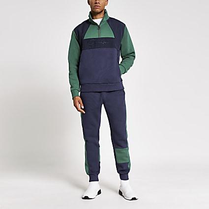 Prolific navy blocked slim fit sweatshirt