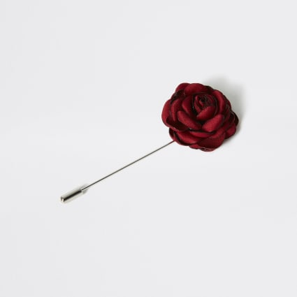 Silver tone red rose lapel pin