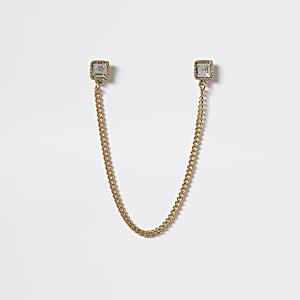 Pointes de col de chemise en zircon cubique doré