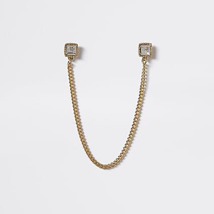 Gold tone cubic zirconia collar tips