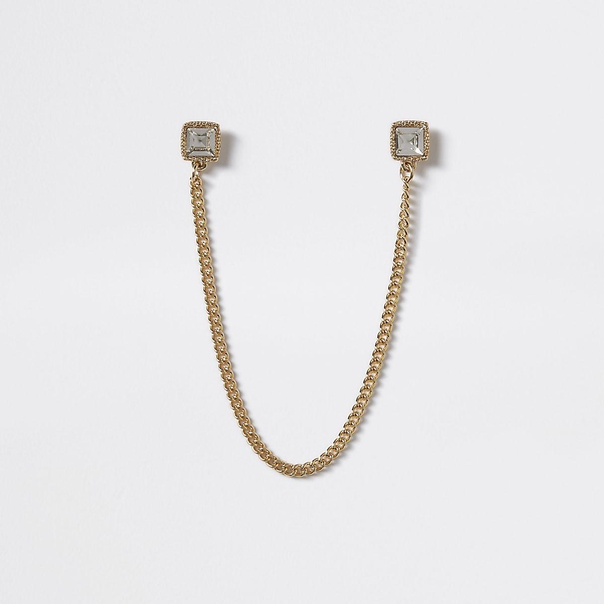 Gold tone cubic zirconia collar tips