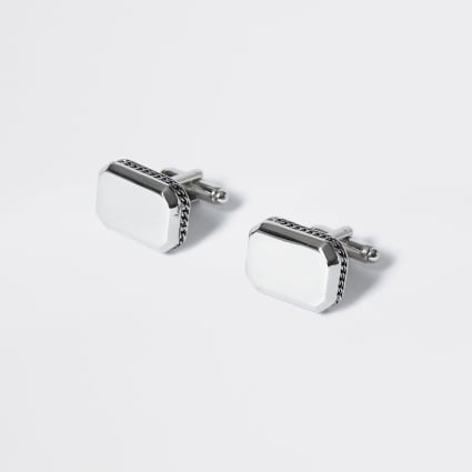 Silver colour chain embossed cuff links