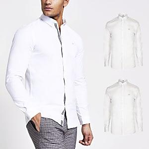 Weißes, langärmeliges Oxford-Hemd, 2er-Set