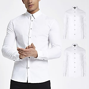Weißes, langärmeliges Muscle Fit T-Shirt, 2er-Set