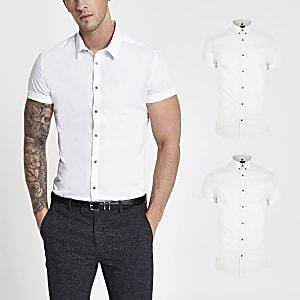 Wit aansluitend overhemdset van 2 met korte mouwen