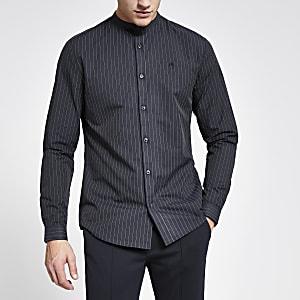 Marineblauw krijtstreep slim-fit overhemd zonder kraag