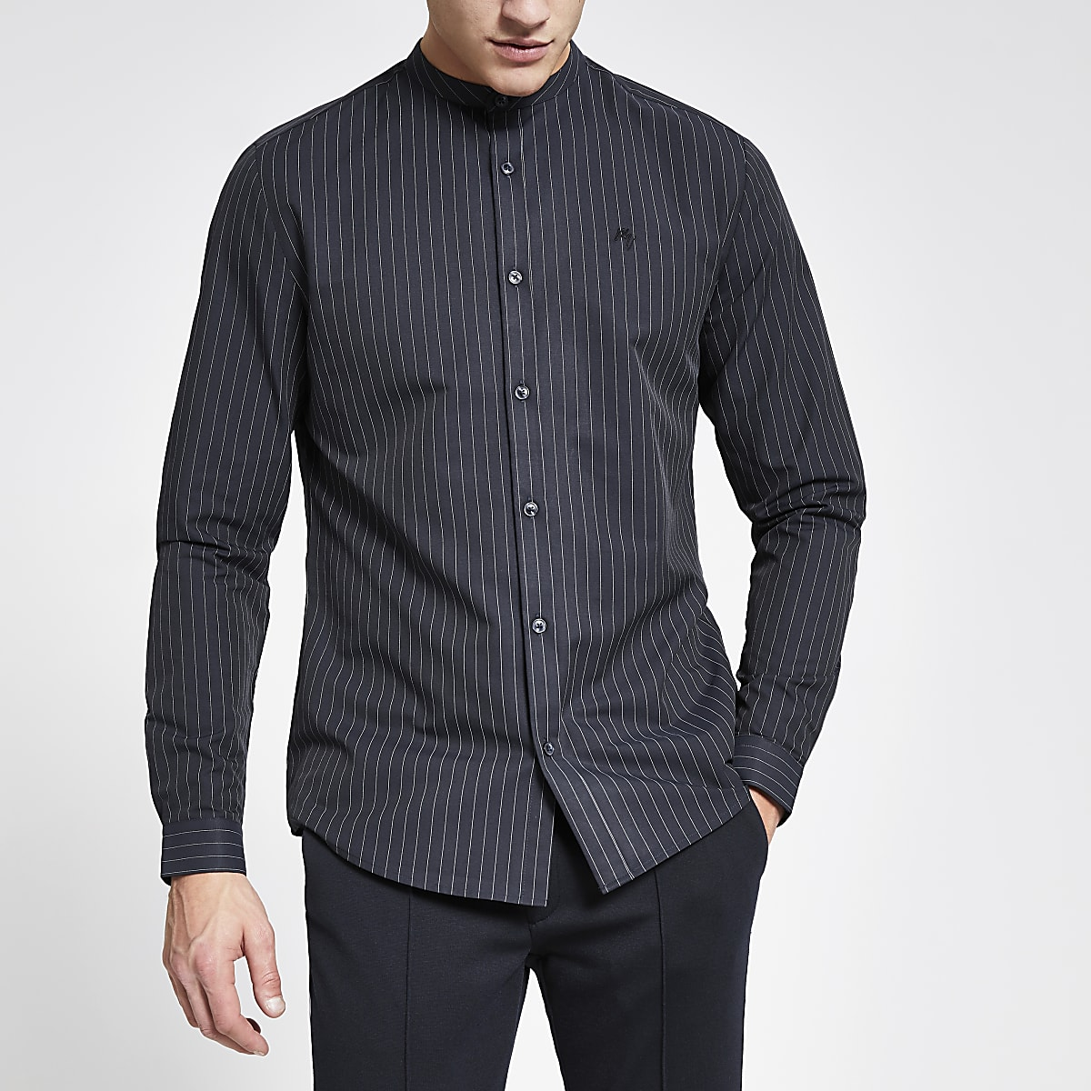 Navy pinstripe grandad collar slim fit shirt