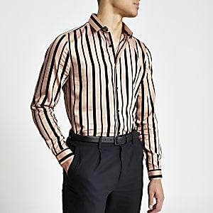 Chemise slim rose avec rayures noires à manches longues