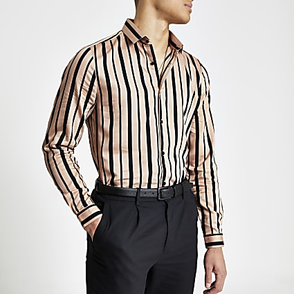 Pink black stripe slim fit long sleeve shirt